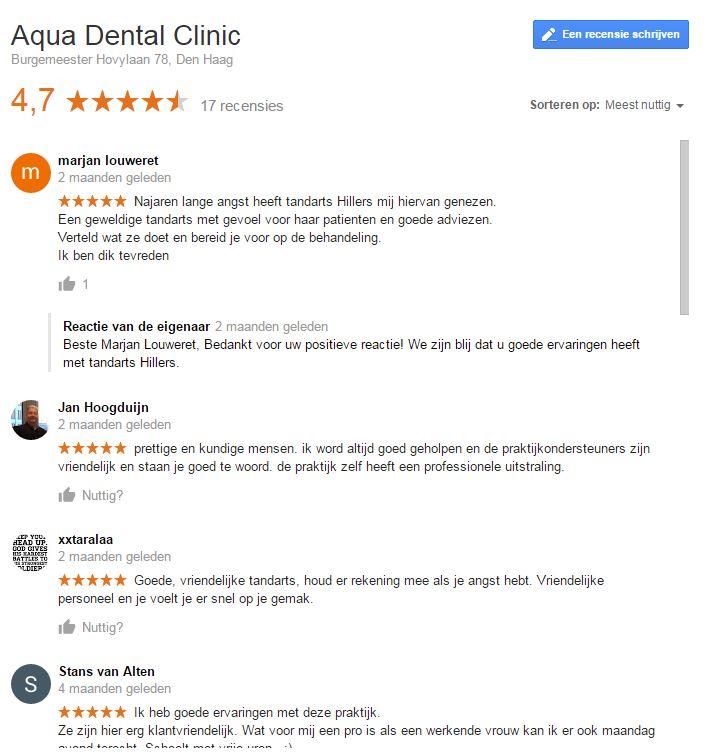 recensies aqua dental clinic den haag